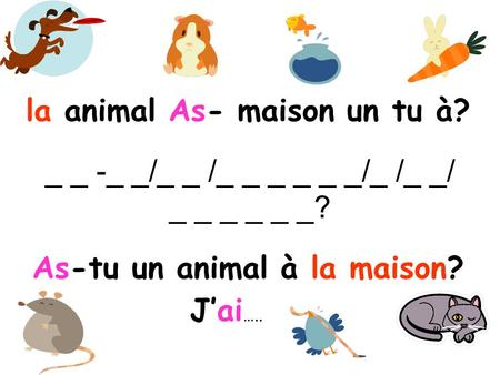 _ _ -_ _/_ _ /_ _ _ _ _ _/_ /_ _/ _ _ _ _ _ _? As-tu un animal à la maison? la animal As- maison un tu à? J'ai …..