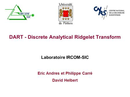 DART - Discrete Analytical Ridgelet Transform