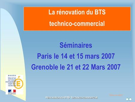 La rénovation du BTS technico-commercial