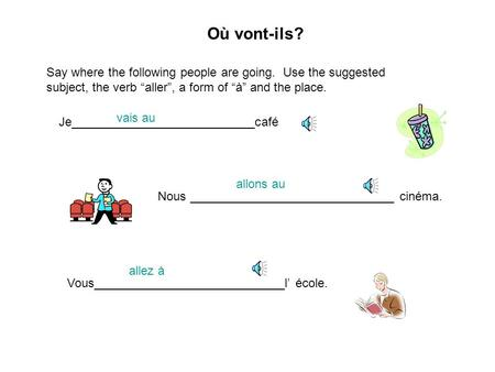 "Où vont-ils? Say where the following people are going. Use the suggested subject, the verb ""aller"", a form of ""à"" and the place. Je___________________________café."