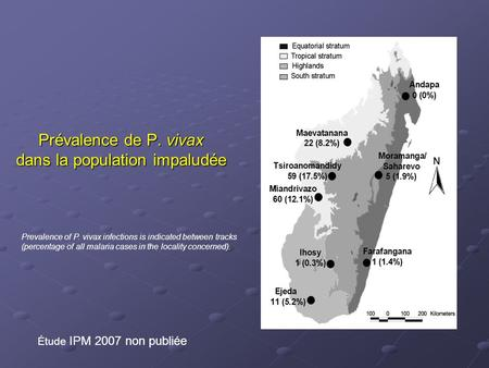 Prévalence de P. vivax dans la population impaludée Étude IPM 2007 non publiée Prevalence of P. vivax infections is indicated between tracks (percentage.