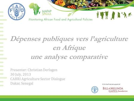 With the financial support of Dépenses publiques vers l'agriculture en Afrique une analyse comparative Presenter: Christian Derlagen 30 July, 2013 CABRI.