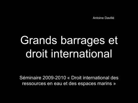 Grands barrages et droit international
