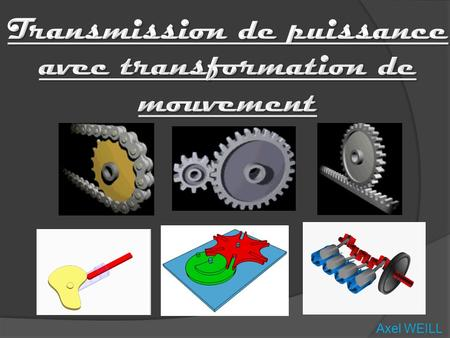 Axel WEILL. 2 2) Transmission sans changer le type de mouvement 3) Transmission en changeant le type de mouvement 4) Quizz 5) Conclusion 1) Introduction.