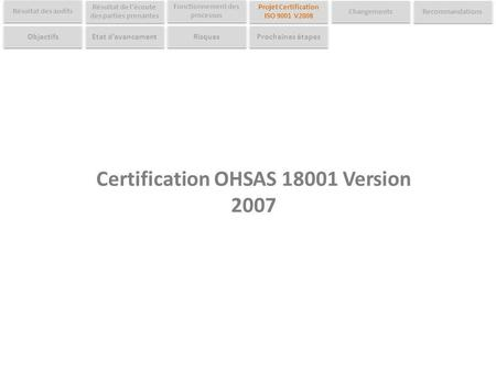 Certification OHSAS Version 2007
