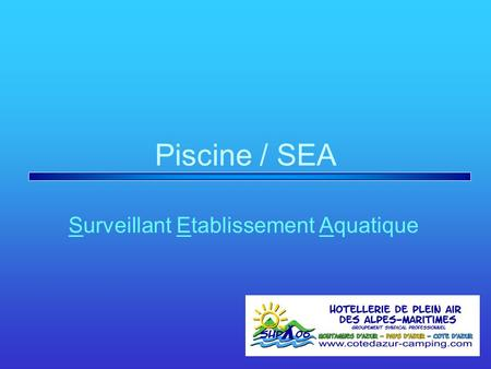 Piscine / SEA Surveillant Etablissement Aquatique.