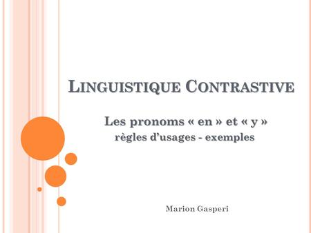Linguistique Contrastive