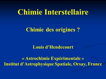 Chimie Interstellaire