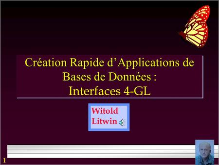 1 Witold Litwin Création Rapide d'Applications de Bases de Données : Création Rapide d'Applications de Bases de Données : Interfaces 4-GL.