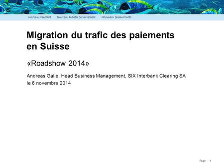 Page Migration du trafic des paiements en Suisse 1 «Roadshow 2014» Andreas Galle, Head Business Management, SIX Interbank Clearing SA le 6 novembre 2014.