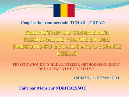 Coopération commerciale  TCHAD - CDEAO