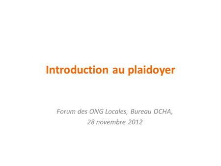 Introduction au plaidoyer