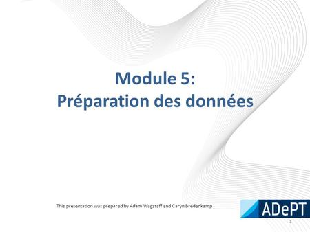 Module 5: Préparation des données 1 This presentation was prepared by Adam Wagstaff and Caryn Bredenkamp.