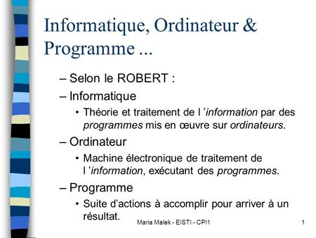 Informatique, Ordinateur & Programme ...