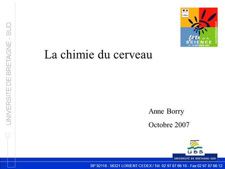 BP 92116 - 56321 LORIENT CEDEX / Tél. 02 97 87 66 10 - Fax 02 97 87 66 12 UNIVERSITE DE BRETAGNE - SUD La chimie du cerveau Anne Borry Octobre 2007.