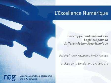 Experts in numerical algorithms and HPC services L'Excellence Numérique Développements Récents en Logiciels pour la Différenciation Algorithmique Par Prof.