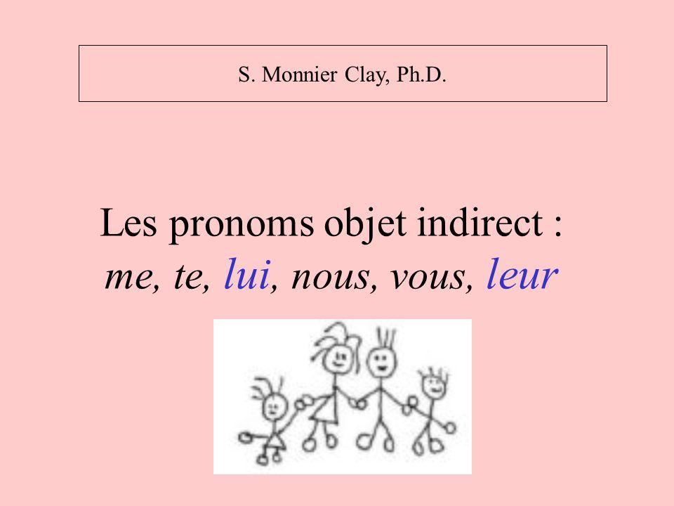 Verbes qui prennent un pronom objet indirect Verbe + à + des personnes Verbes de conversation : Un message, une information passe dune personne à une autre.