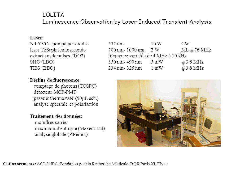 LSC Microscope : NIKON TE2000 inversé Balayage confocal C1 Micro-spectroscopie résolue en temps: Connection fibrée au système TCSPC FLIM : Portes temporelles programmables (système LIMO ® ) En cours d implantation : Caméra haute dynamique Excitation biphotonique FLIM par TCSPC (Carte PicoQuant) Infrastructures de microbiologie (PSM, incubateur) LOLITA Microspectroscopie et imagerie de durée de vie de fluorescence (FLIM) 1234 Gate Lifetime (ns) Partenariats : Nikon France et Nikon Europe Cofinancements : ACI sur la NADPH oxydase (LCP, U442 INSERM), POLA, Elyse Collaboration technique : Institut Curie Orsay