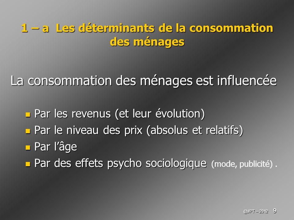 @JPT – 2012 10 1 – b Lévolution de la consommation des ménages (1) On constate : La croissance de léquipement des ménages en biens durables Source : Alternatives économiques