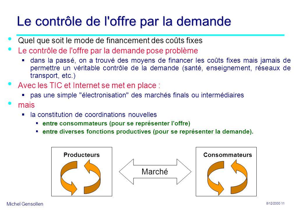 Michel Gensollen 8/12/2000 12 Le couplage entre l offre et la demande