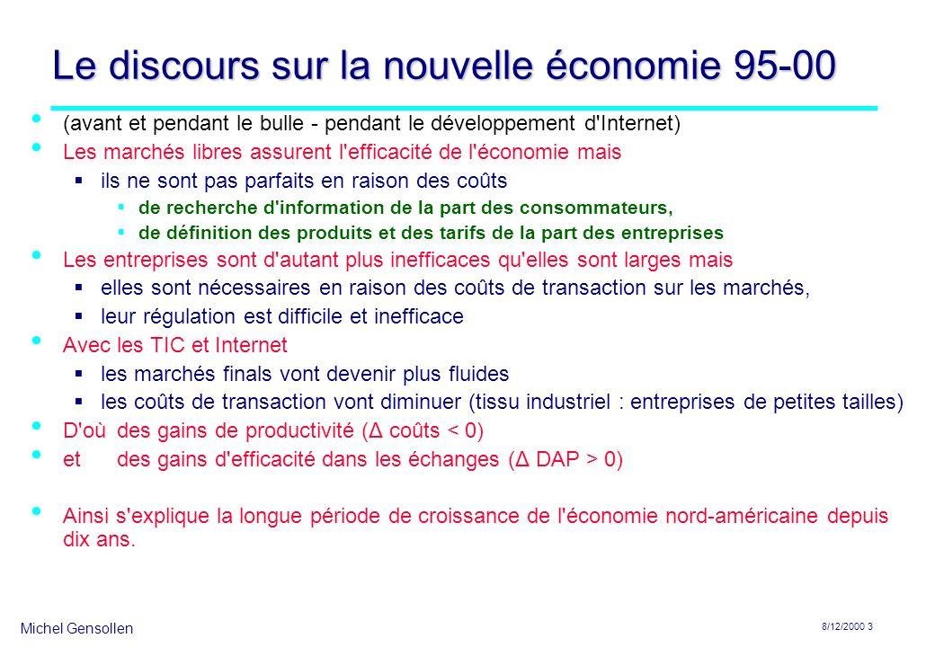 Michel Gensollen 8/12/2000 4 Le discours sur Internet après la bulle Internet ne peut s adapter à l économie parce que les internautes sont habitués au gratuit (raisons historiques) parce que les paiements se font difficilement sur Internet (pas de micro-paiements).