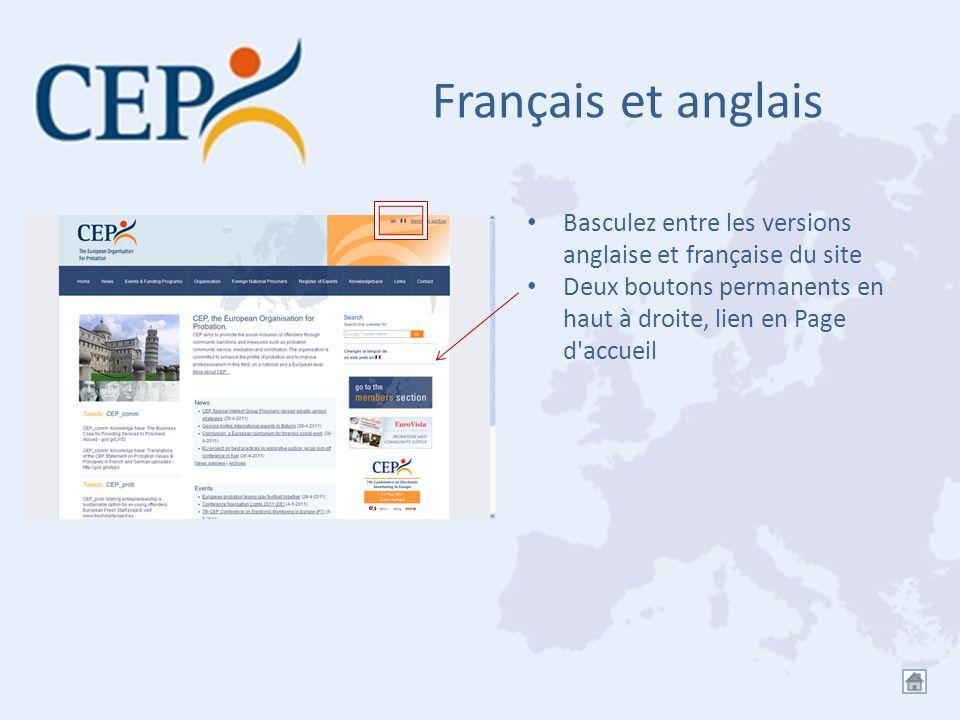 Français et anglais Basculez entre les versions anglaise et française du site.