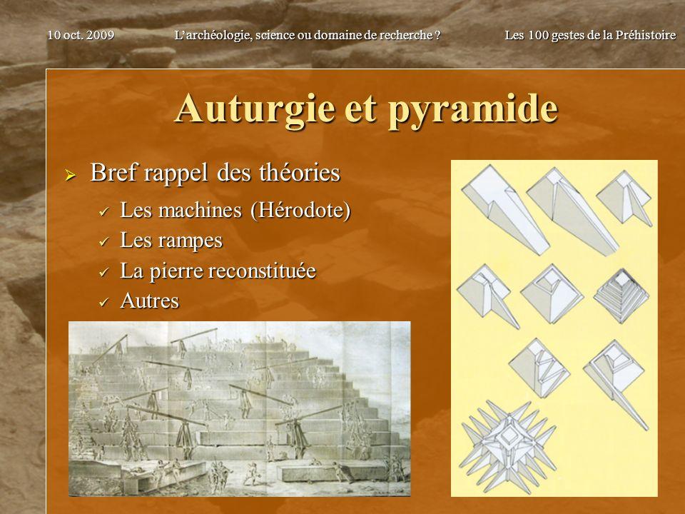 Auturgie et pyramide Bref rappel des théories Les machines (Hérodote)