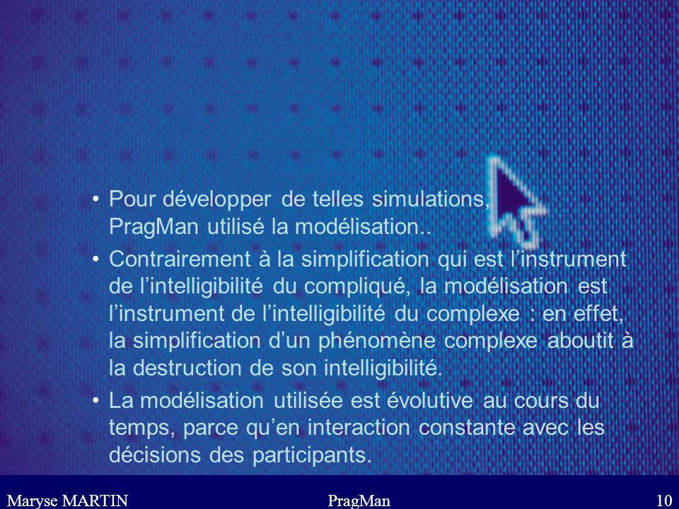 Pour développer de telles simulations, PragMan utilisé la modélisation..