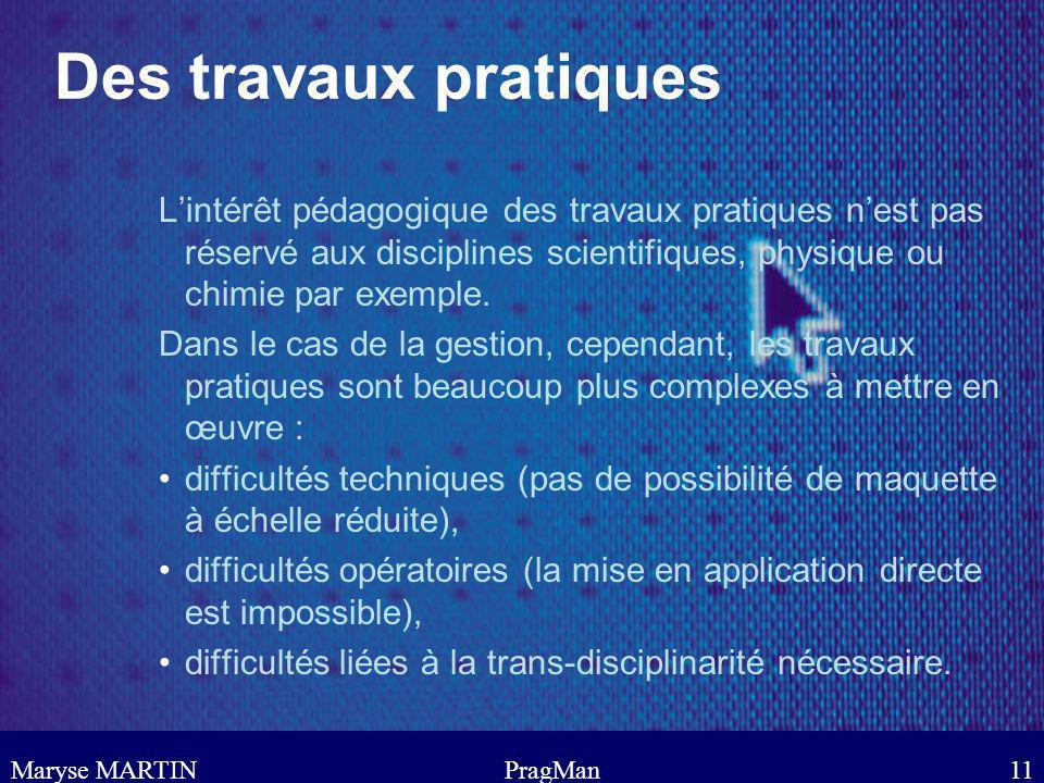Des travaux pratiques L'intérêt pédagogique des travaux pratiques n'est pas réservé aux disciplines scientifiques, physique ou chimie par exemple.