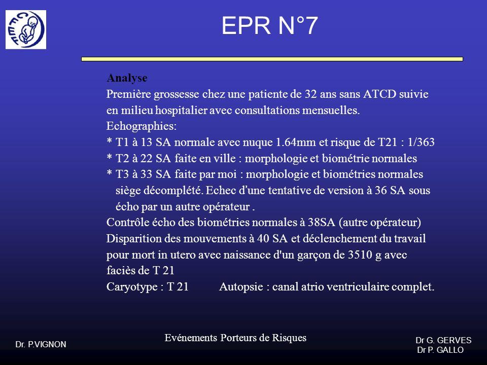 EPR N°7Analyse. Première grossesse chez une patiente de 32 ans sans ATCD suivie. en milieu hospitalier avec consultations mensuelles.