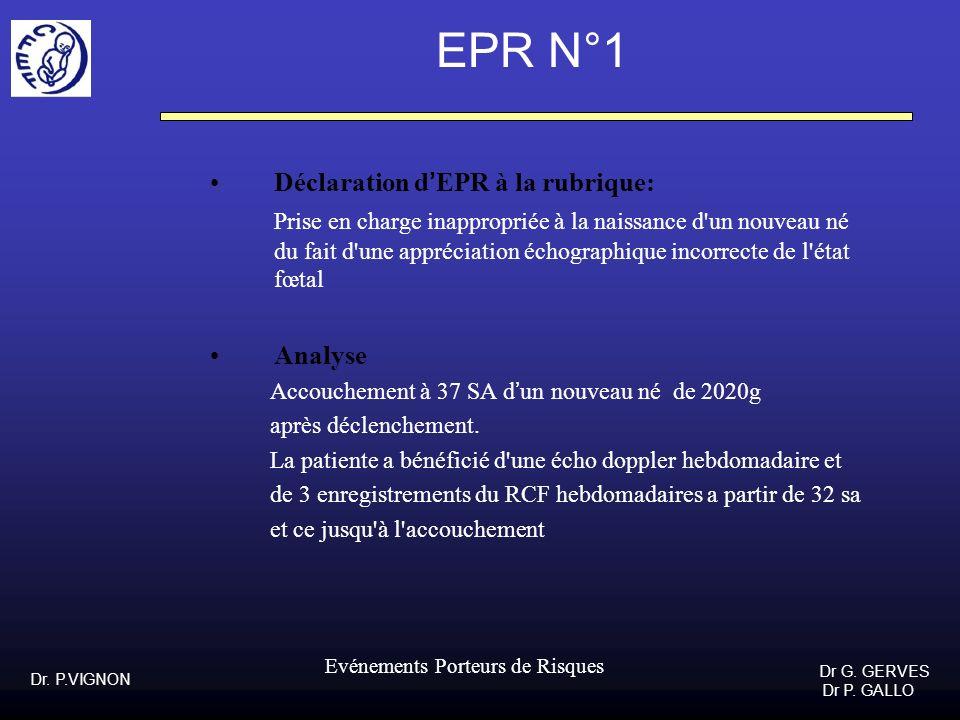 EPR N°1 Déclaration d'EPR à la rubrique: