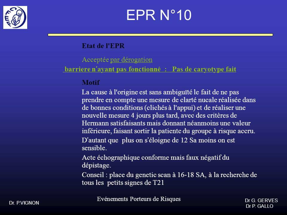 EPR N°10 Etat de l EPR Acceptée par dérogation