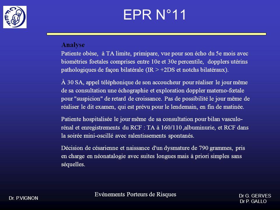 EPR N°11Analyse. Patiente obèse, à TA limite, primipare, vue pour son écho du 5e mois avec.