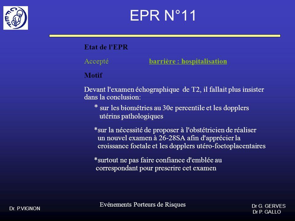 EPR N°11 Etat de l EPR Accepté barrière : hospitalisation Motif