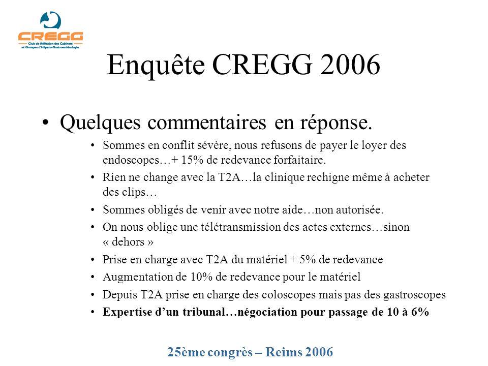 Enquête CREGG 2006 Quelques commentaires en réponse.