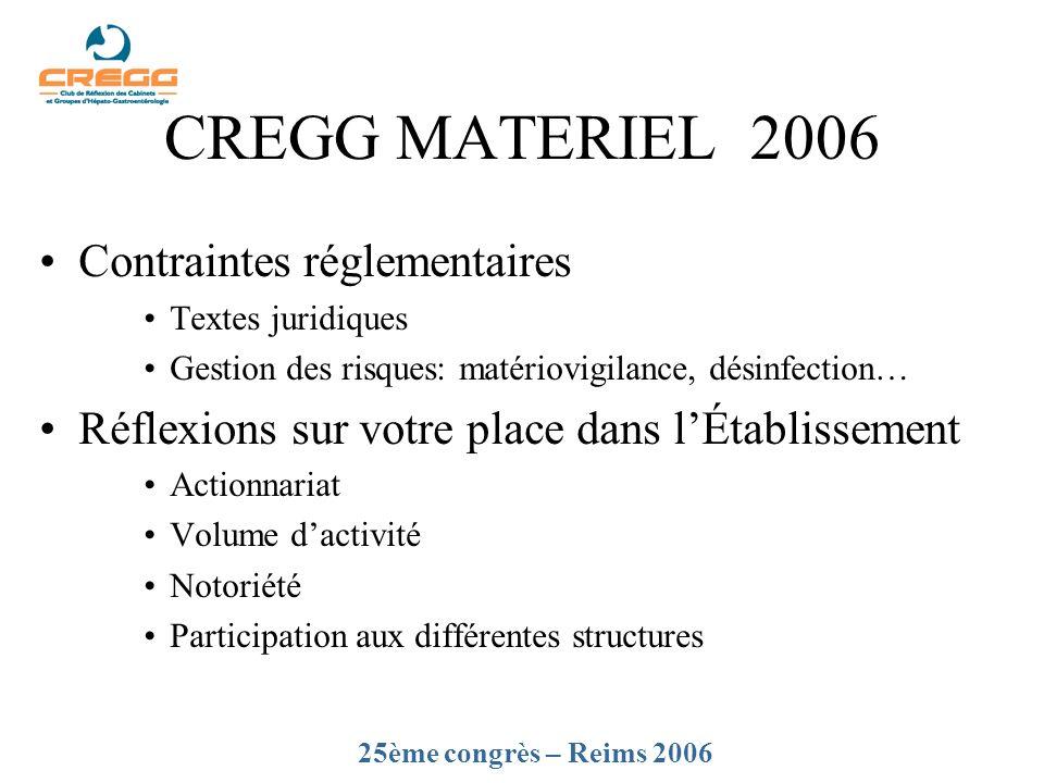 CREGG MATERIEL 2006 Contraintes réglementaires