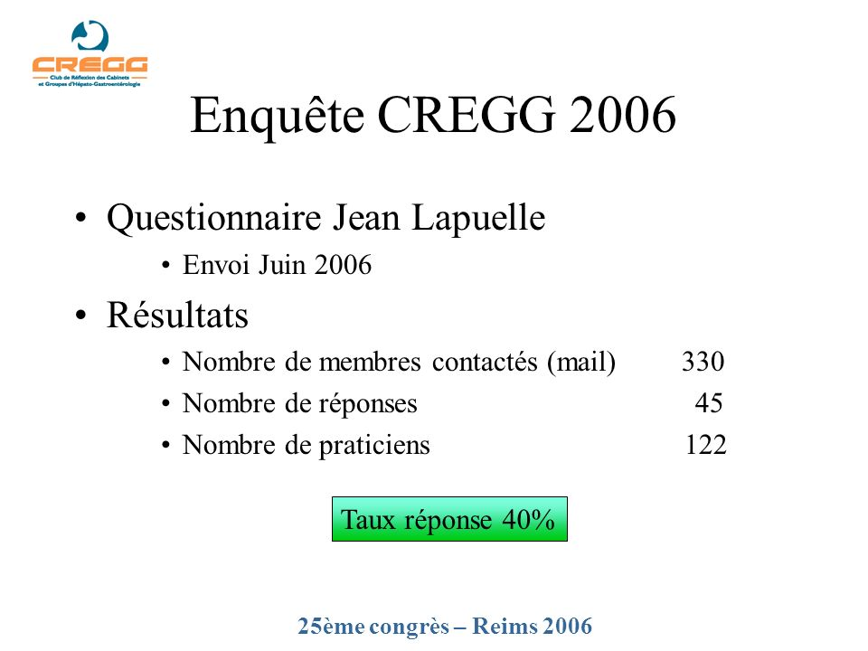 Enquête CREGG 2006 Questionnaire Jean Lapuelle Résultats