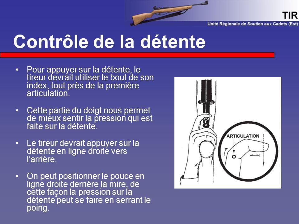 Contrôle de la détente Pour appuyer sur la détente, le tireur devrait utiliser le bout de son index, tout près de la première articulation.