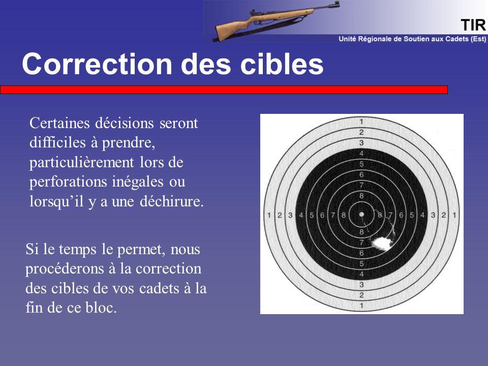 Correction des cibles Certaines décisions seront difficiles à prendre, particulièrement lors de perforations inégales ou lorsqu'il y a une déchirure.