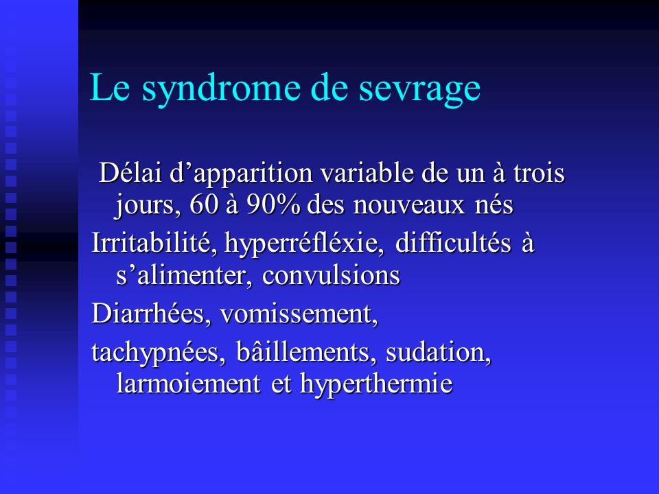 Le syndrome de sevrageDélai d'apparition variable de un à trois jours, 60 à 90% des nouveaux nés.