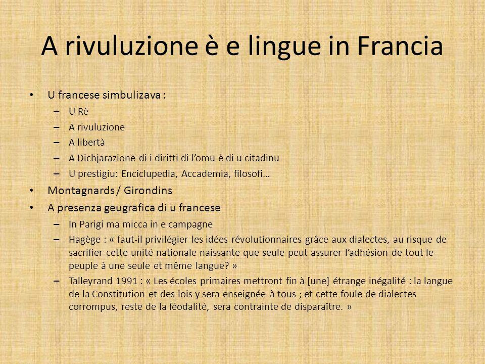 A rivuluzione è e lingue in Francia