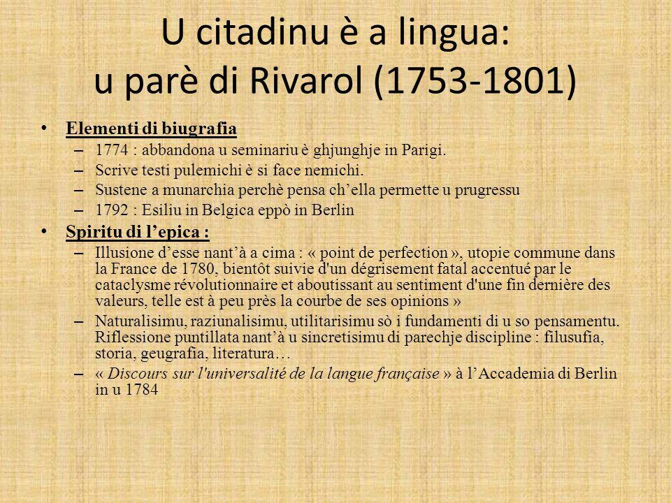 U citadinu è a lingua: u parè di Rivarol (1753-1801)