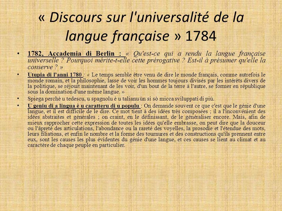 « Discours sur l universalité de la langue française » 1784