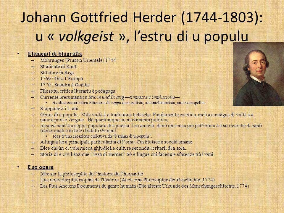 Johann Gottfried Herder (1744-1803): u « volkgeist », l'estru di u populu