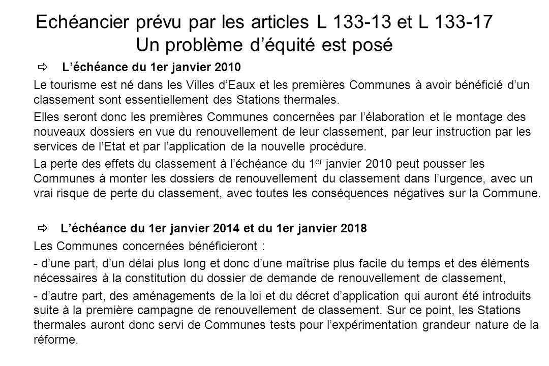 Echéancier prévu par les articles L 133-13 et L 133-17 Un problème d'équité est posé
