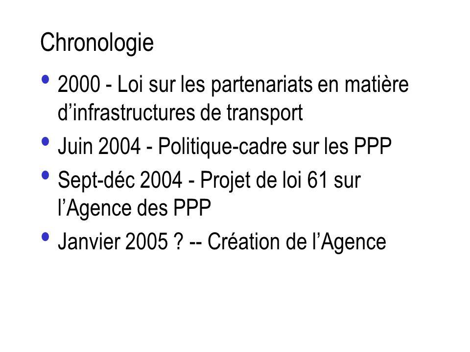 Chronologie2000 - Loi sur les partenariats en matière d'infrastructures de transport. Juin 2004 - Politique-cadre sur les PPP.