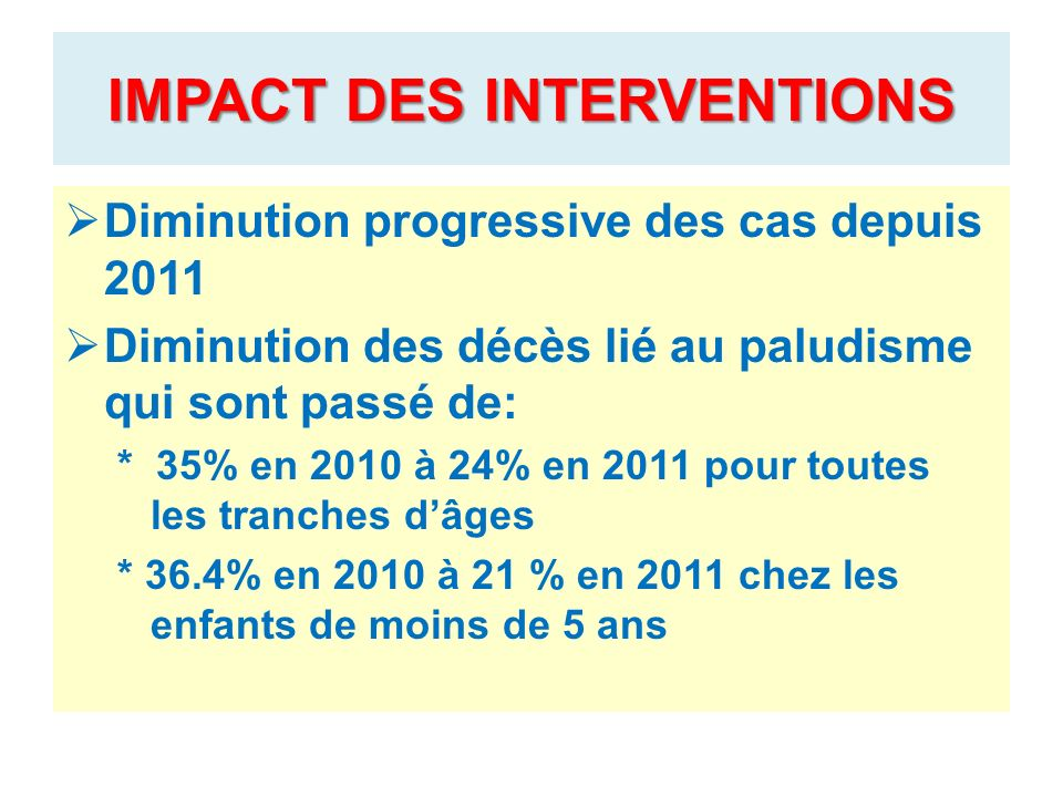IMPACT DES INTERVENTIONS