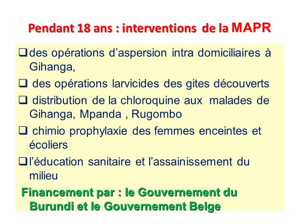 Pendant 18 ans : interventions de la MAPR