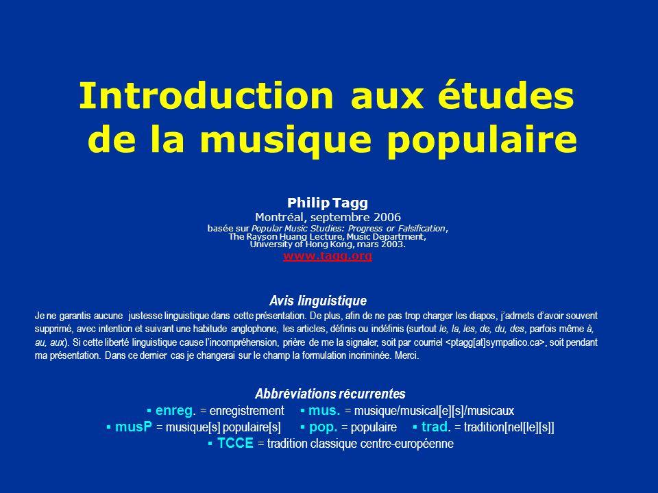 Introduction aux études de la musique populaire