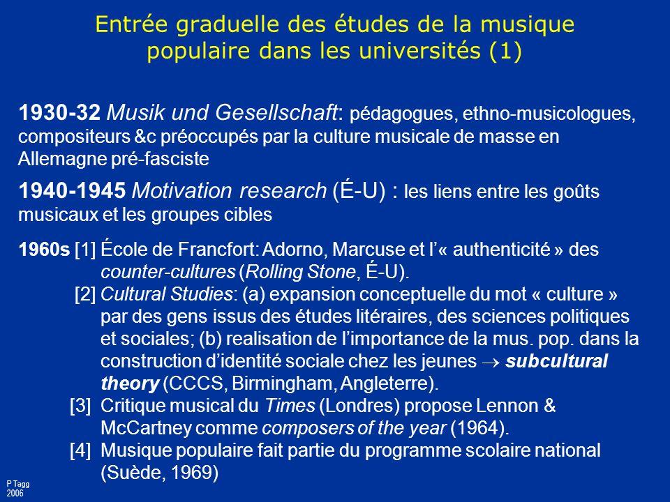 Entrée graduelle des études de la musique populaire dans les universités (1)